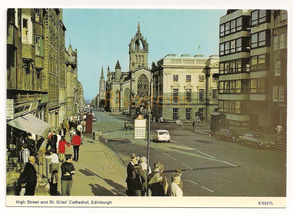 Scotland: Edinburgh. High Street And St Giles Cathedral, 1970s Colour Photo Postcard