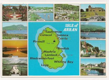 Scotland: Isle Of Arran. Multiview And Map Colour Postcard