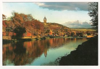 Scotland: Peebles-shire. The River Tweed At Peebles, Colour Photo Postcard