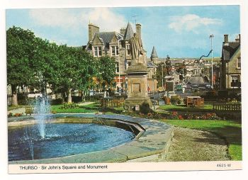Scotland: Caithness. St Johns Square And Monument, Thurso, Colour Photo Postcard