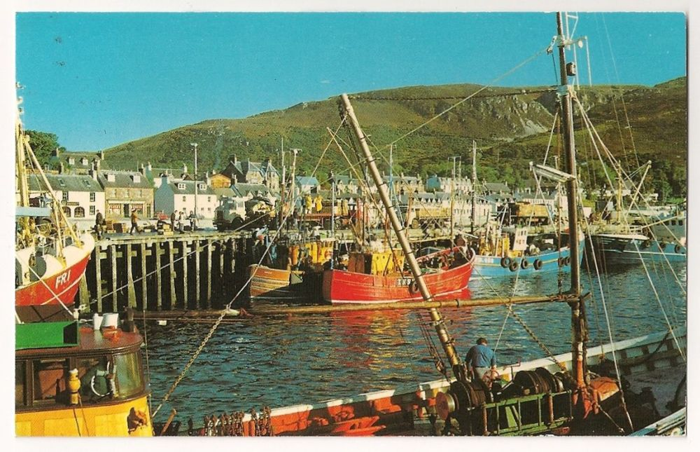 Scotland: Ross-shire. The Pier At Ullapool, Colour Photo Postcard