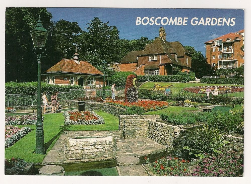 England: Dorset. Boscombe Gardens, Bournemouth Bay, Colour Photo Postcard