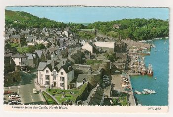Wales: Conway From The Castle, Colour Photo Postcard