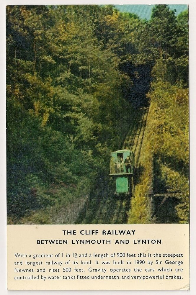 England: Devon. The Cliff Railway Between Lynmouth And Lynton, Colour Photo Postcard