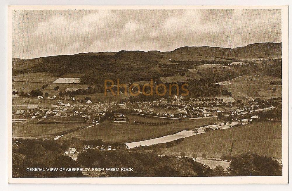 Scotland: Perth & Kinross. General View Of Aberfeldy From Weem Rock. Photo Postcard
