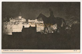 Scotland: Midlothian, Edinburgh. Edinburgh Castle And Haig Statue, Floodlit View. Printed Photo Postcard
