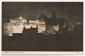 Scotland: Midlothian, Edinburgh. Edinburgh Castle And Haig Statue, Floodlit View. Printed Photo Postcard