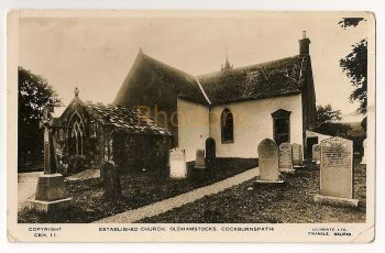 Scotland: East Lothian. Established Church, Oldhamstocks, Cockburnspath, Early 1900s Real Photo Postcard