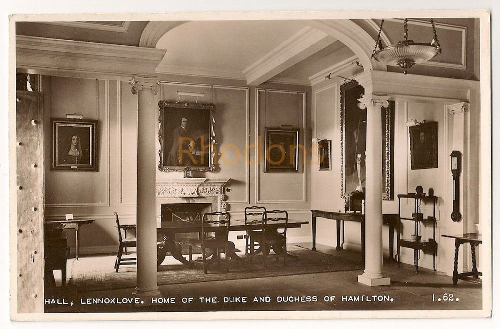 Scotland: East Lothian. Lennoxlove House, Home Of The Duke And Duchess Of Hamilton. Hall View Real Photo Postcard