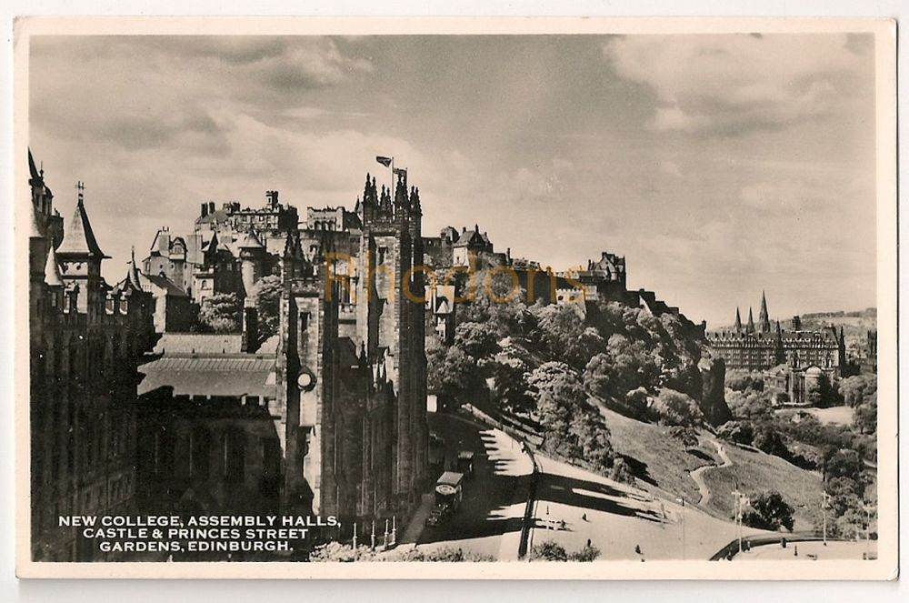 Scotland: Midlothian, Edinburgh. New College, Assembly Halls, Castle & Princes Street Gardens. Real Photo Postcard
