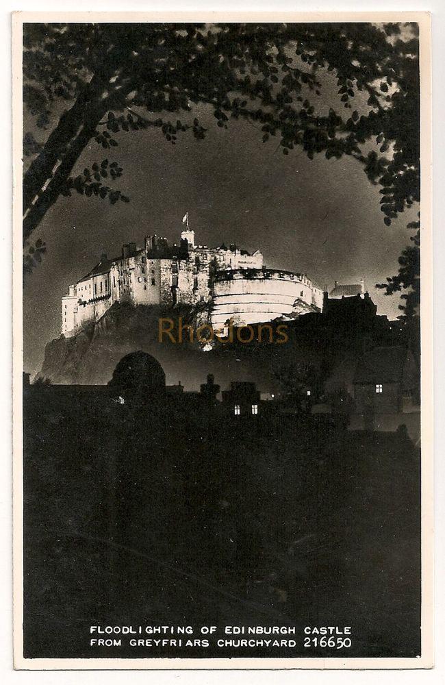 Scotland: Midlothian, Edinburgh. Floodlighting Of Edinburgh Castle From Greyfriars Churchyard. Real Photo Postcard