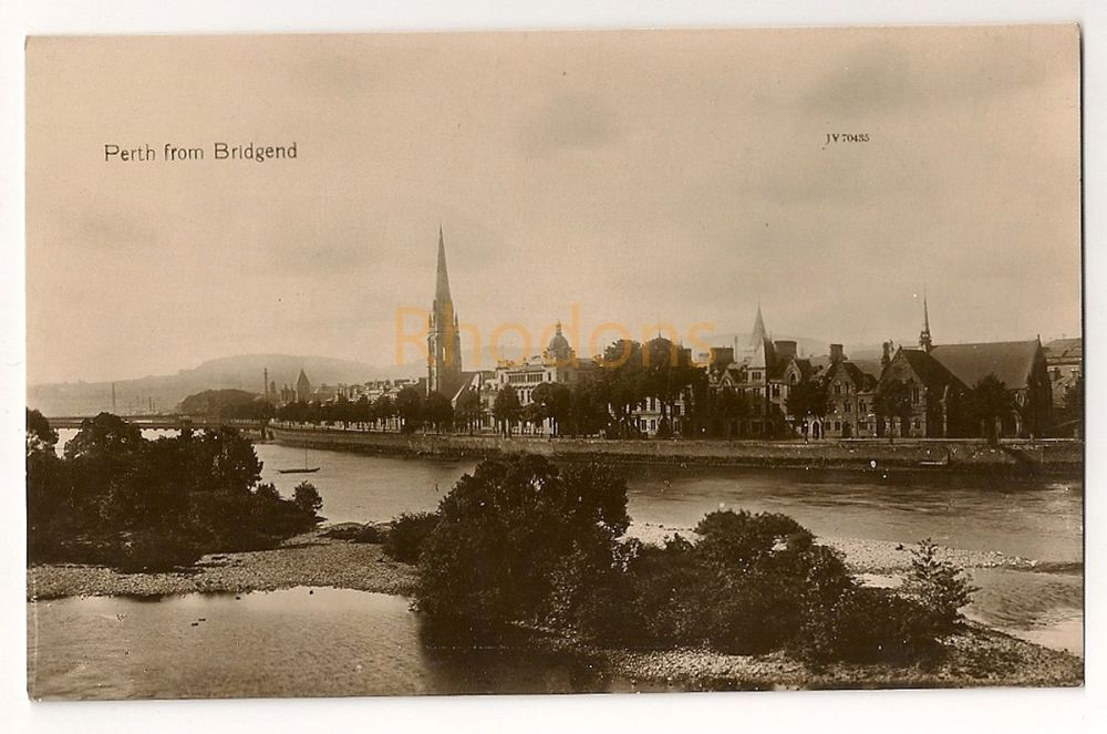 Scotland: Perthshire. Perth Viewed From Bridgend, Early 1900s Real Photo Postcard