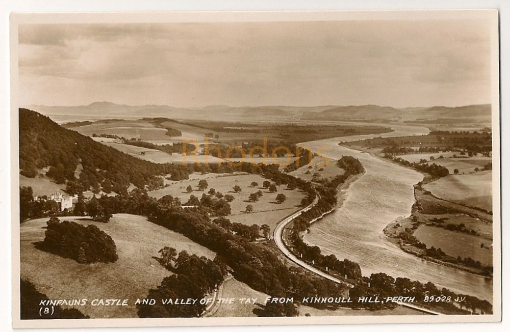 Scotland: Perth & Kinross. Kinfauns Castle And Valley Of The Tay From Kinnoll Hill, Perth. Real Photo Postcard
