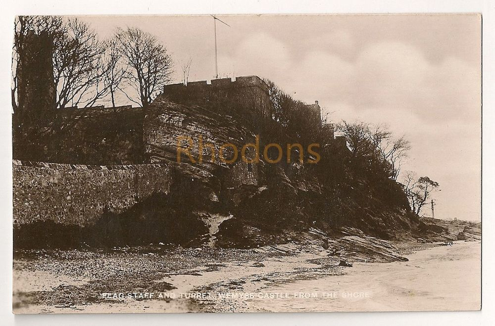 Scotland: Fife. Wemyss Castle, Flagstaff And Turret View From The Shore. Early 1900s Real Photo Postcard