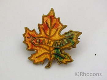 Canadian Maple Leaf Enamel Pin Brooch Circa 1970s, 1980s