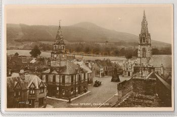 Scotland: Fife. The High Street, Falkland. Early 1900s Postcard