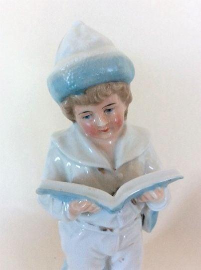 Antique Porcelain Boy Figurine. Heubach, Germany.