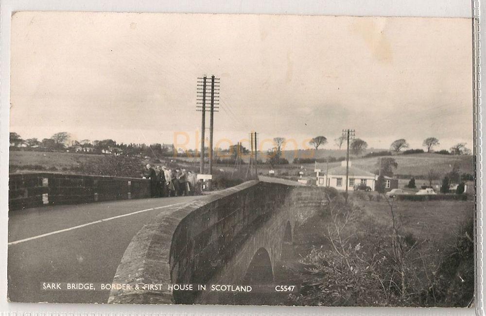 Scotland: Dumfriesshire. Sark Bridge, Border & First House In Scotland. Circa  1950s Real Photo Postcard