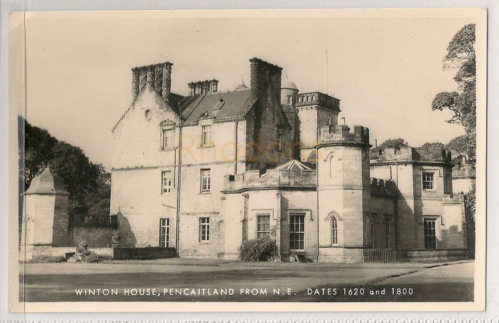 Scotland: East Lothian. Winton House, Pencaitland From N E. Real Photo Postcard