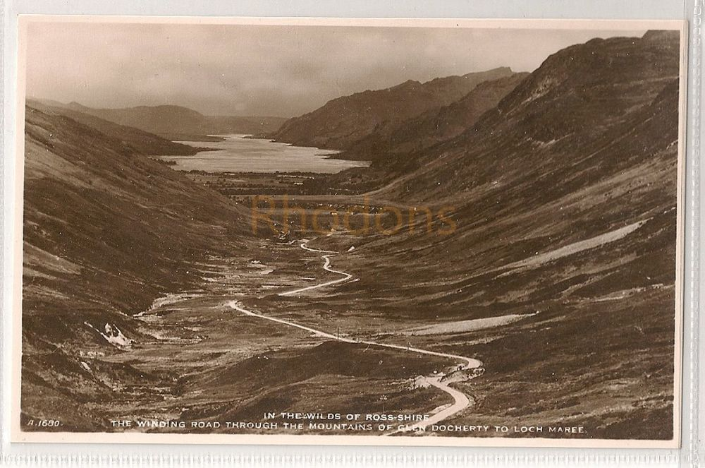 Scotland: Ross-Shire. In The Wilds Of Ross-Shire, Road ThroughThe Mountains Of Glen Docherty To Loch Maree. RPPC