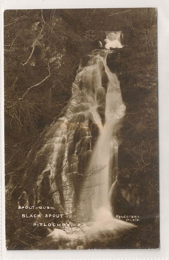 Scotland: Perthshire. Spout Dubh, Black Spout, Pitlochry. 1950s Real Photo Postcard