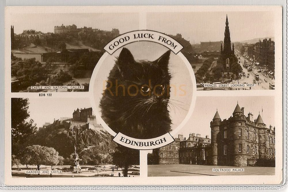 Scotland: Midlothian. Good Luck From Edinburgh. Circa 1950s Raphael Tuck Multiview Photo Postcard