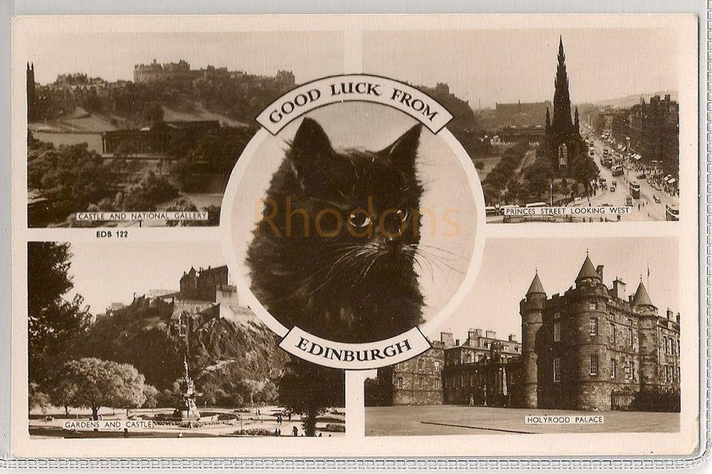 Scotland: Midlothian. Good Luck From Edinburgh. Circa 1950s Raphael Tuck Multiview Photo Postcard
