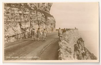 Wales: Conwy. The Marine Drive, Llandudno. Early 1900s Real Bromide Photo Postcard c1920s, 1930s