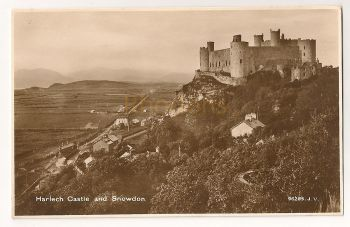 Wales: Gwynedd. Harlech Castle And Snowdon. Real Photo Postcard