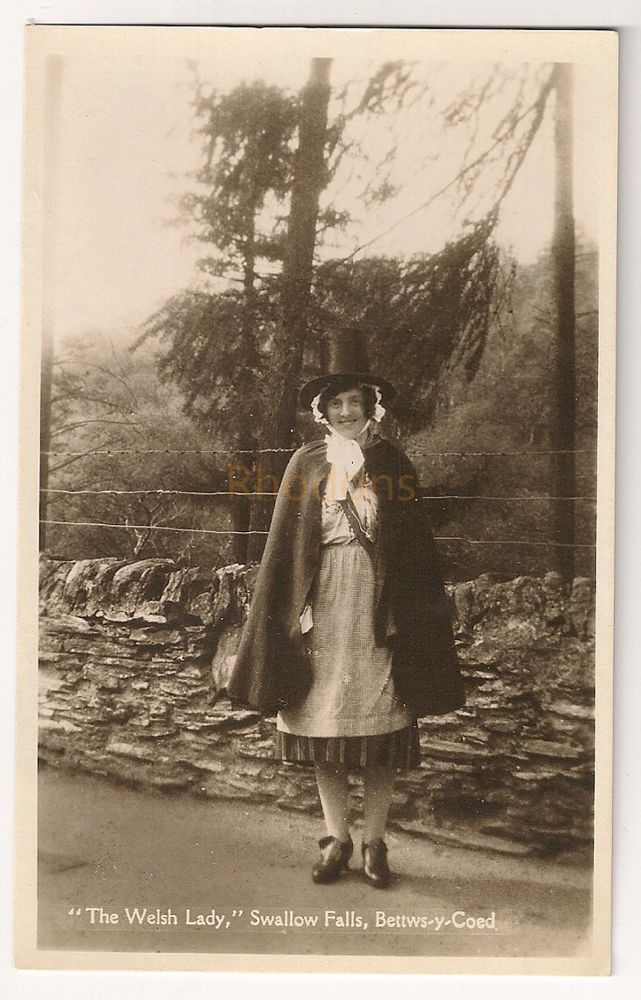 Wales: Snowdonia.The Welsh Lady, Swallow Falls, Bettws-y-Coed. Early 1900s Real Photo Postcard