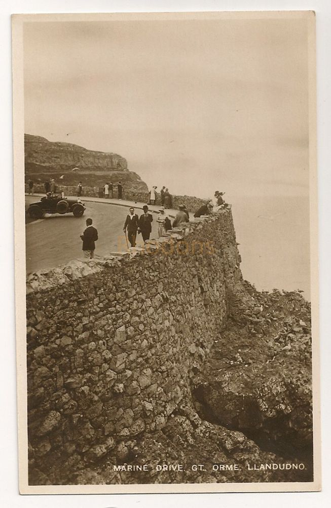 Wales: Conwy. Marine Drive, Great Orme, Llandudno. Early 1900s Real Bromide Photo Postcard
