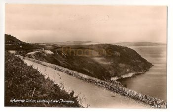 England: Devon. Torquay, Marine Drive Looking East. Early 1900s Real Photo Postcard