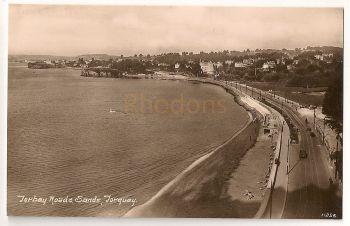 England: Devon. Torquay, Torbay Road & Sands. Early 1900s Real Photo Postcard