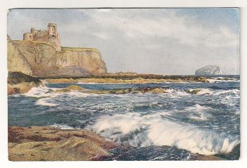Scotland: East Lothian.Tantallon Castle And The Bass Rock. Early 1900s Postcard