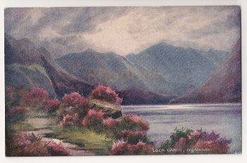 Tucks Oilette Postcard #7972 - Loch Garve, Highlands. Bonnie Scotland Series - Mountain, Loch, Heather. Early 1900s