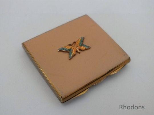 Ladies Powder Compact, 3D Enamel Butterfly & Gilt Finish