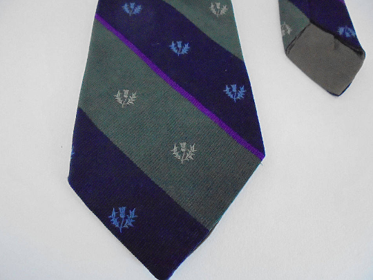 Vintage Mens Necktie, Thistle Design, Scottish Rugby Memorabilia