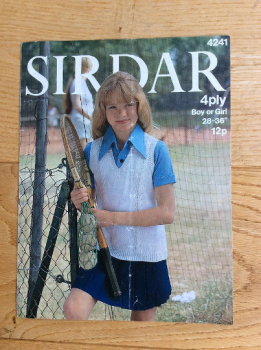 Sirdar Knitting Pattern Girl or Boy Sports Slipover No 4241