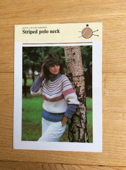 Vintage Odhams / Quick and Easy Fashions Knitting Pattern For Striped Polo Neck. 1970s