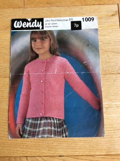 Wendy Crochet Pattern For Girl's Cardigan. No1009, Circa 1960s