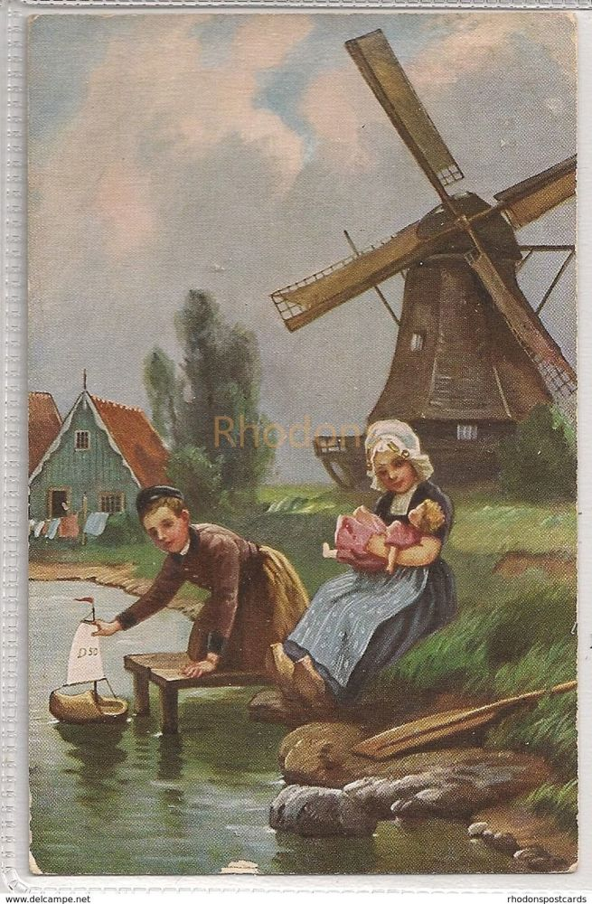 Little Hollanders With Windmill. Raphael Tuck Oilette Series Card #9780