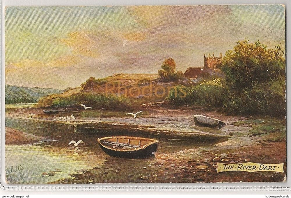 The River Dart, Devon. Tucks Oilette Series Postcard. Early 1900s