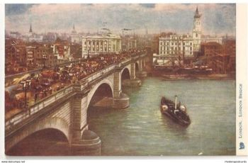 England: London Bridge, Tucks 'Oilette' Postcard #770, Early 1900s
