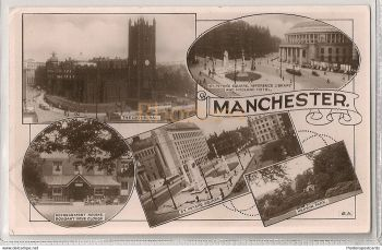 England: Lancashire.  Manchester Multiview Real Photo Postcard Early 1950s