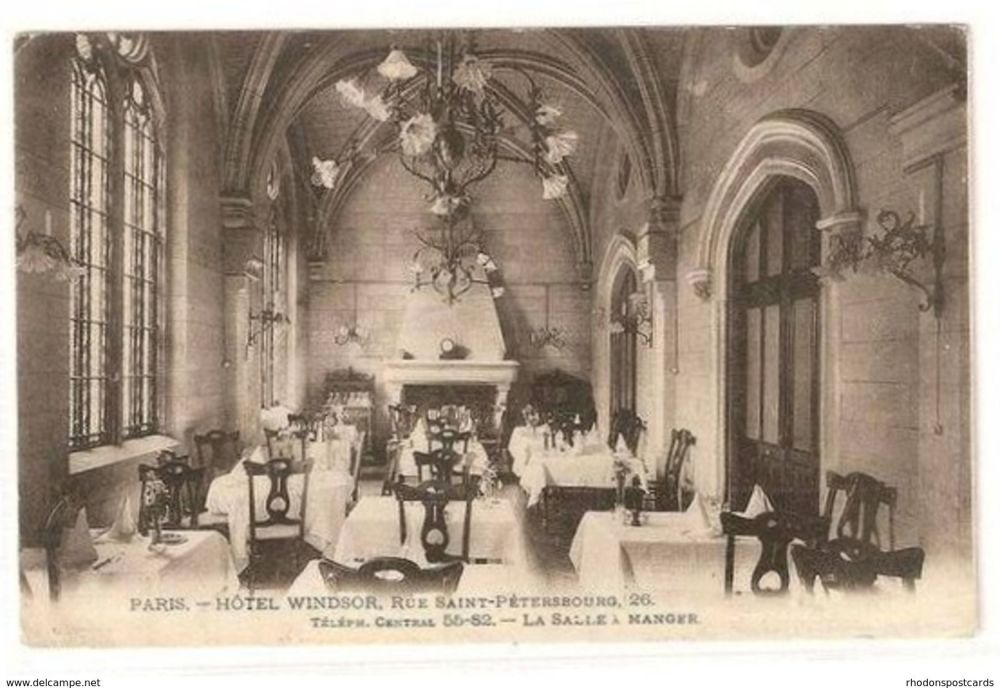 France: Paris. Hotel Windsor Dining Room View. Early 1900s Postcard