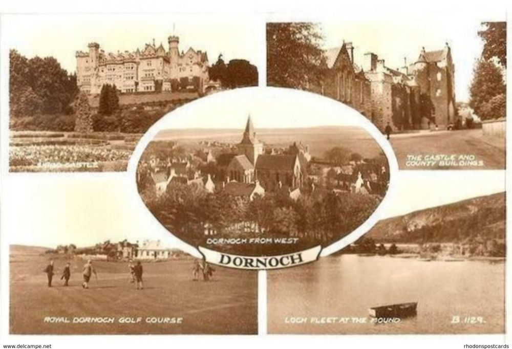 Scotland: Sutherland. Dornoch, Highlands, Scotland. 1950s Valentines Real Photo Multiview Postcard