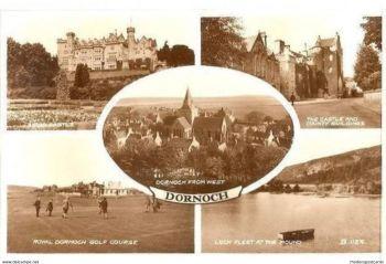Scotland: Sutherland. Dornoch, Highlands, Scotland. 1950s Valentines Real Photo Multiview Postcard
