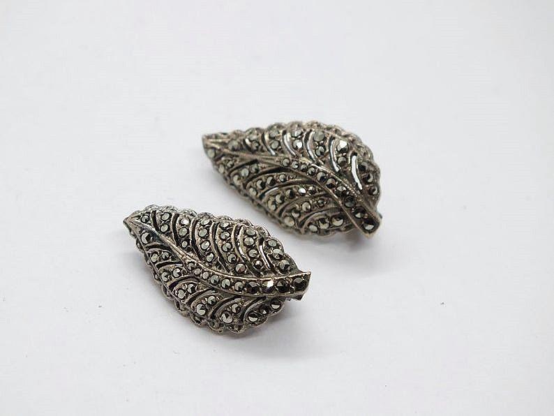 Marcasite Clip-On Leaf Earrings, 1930s Art Deco Design