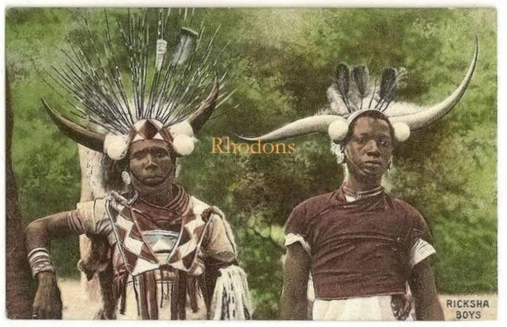 South Africa: Ricksha Boys, Early 1900s Postcard