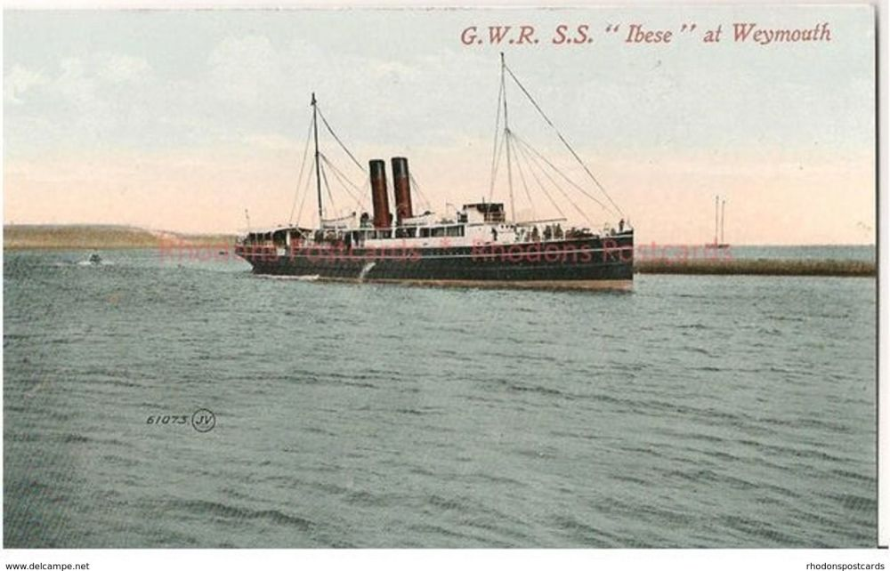 GWR Great Western Railway SS 'Ibese' at Weymouth. Early 1900s Postcard